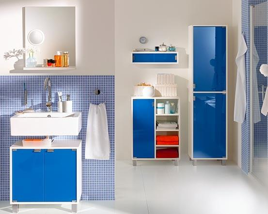 barva v interiéru koupelny - modrá